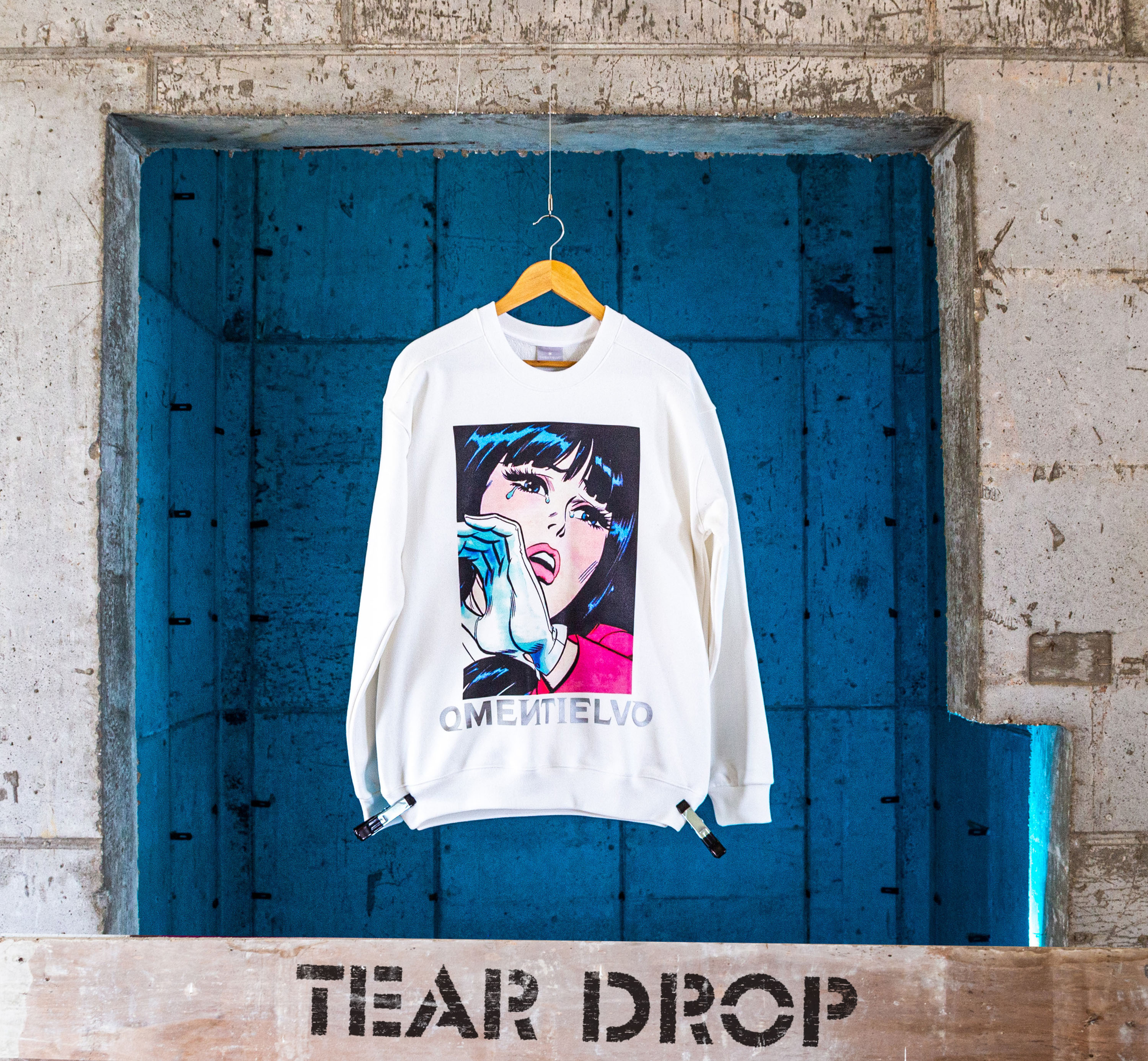 [Sweat Shirt]  White_TEAR DROP