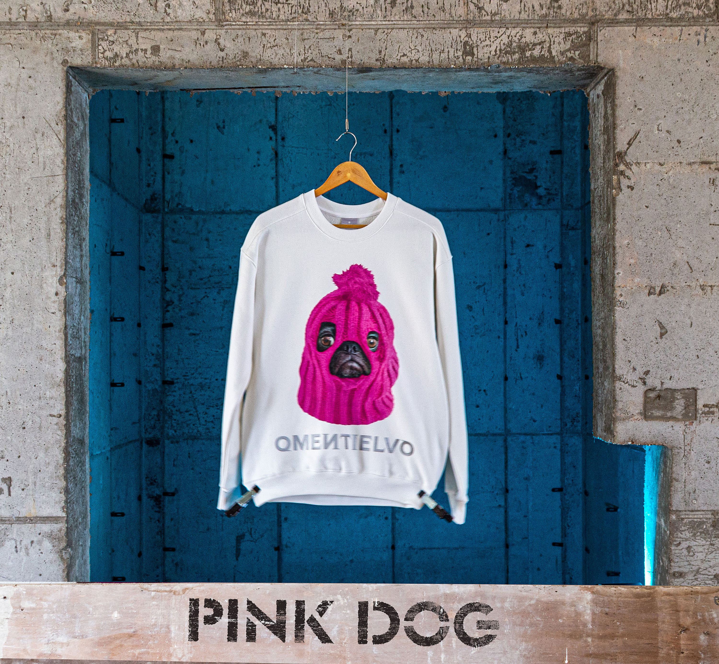 [Sweat Shirt]  White_PINK DOG